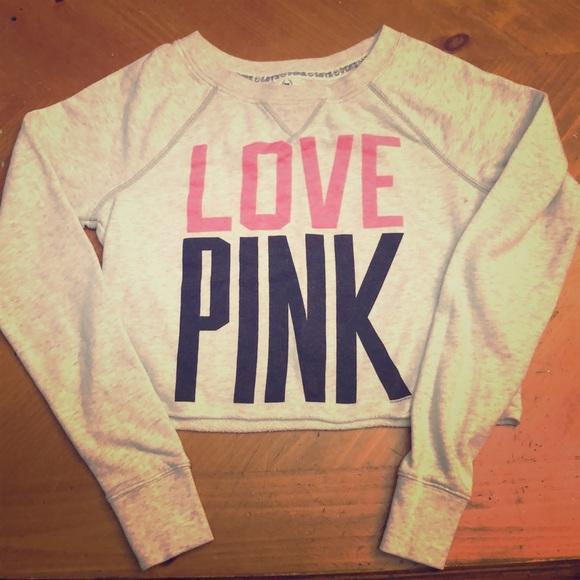 PINK Victoria's Secret Tops - Victoria Secret PINK Crop Sweatshirt